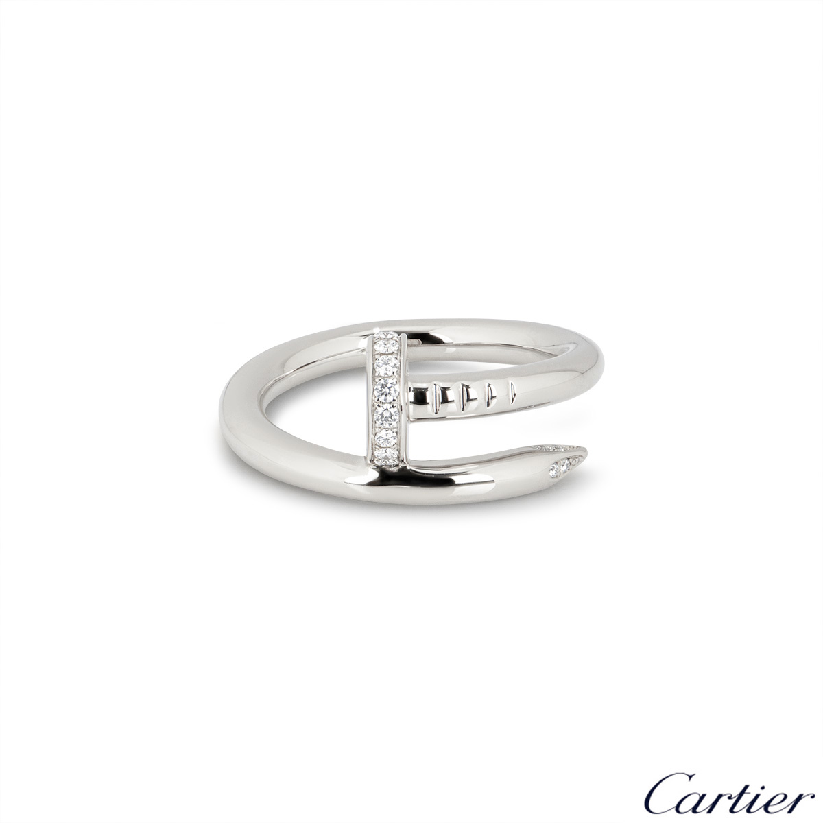 Cartier White Gold Diamond Juste Un Clou Ring Size 52 B4092700